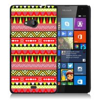 Kabiloo - Coque pour Microsoft Nokia Lumia 540 impression Motifs aztèque jaune et rouge
