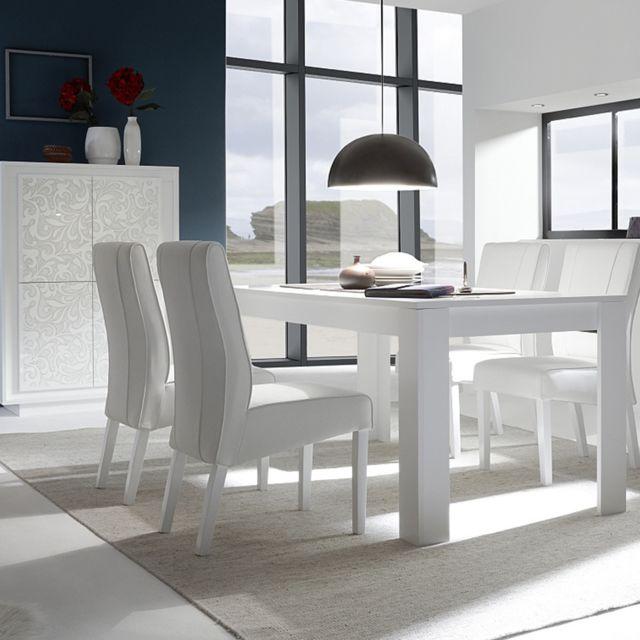 Sofamobili Table à manger blanc laqué mat design Belladone - Sans rallonge