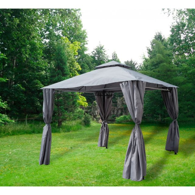 topdeco tonnelle 3x3 m grise tp025 4 rideaux pas cher achat vente parasols rueducommerce. Black Bedroom Furniture Sets. Home Design Ideas