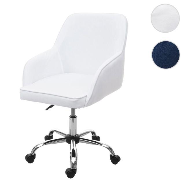 Chaise de bureau Hwc f82 fauteuil directorial, pivotant, design rétro, velours ~ blanc