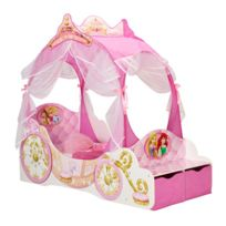 - Lit carrosse Princesses Disney + rangements 140x70cm coloris rose