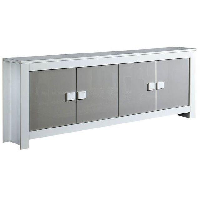 Comforium Dressoir ultra design blanc et gris laqué à 4 portes