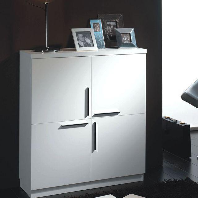 cubisl meuble rangement laqu blanc brillant 90x29x108 lunit