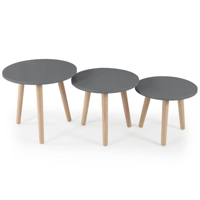 Menzzo Lot De 3 Tables D Appoint Scandinaves Doni Gris Pas Cher