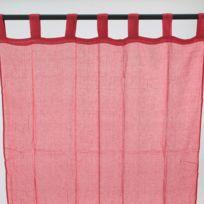 Mon Beau Tapis - Voilage Premium à pattes 110x250cm, Rouge
