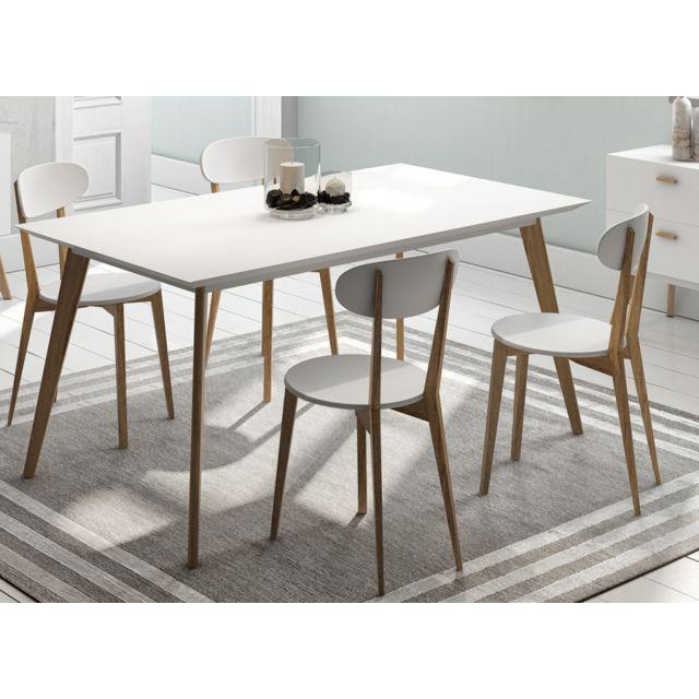 Sofamobili Table de salle à manger blanc mat et en bois contemporaine Shiny