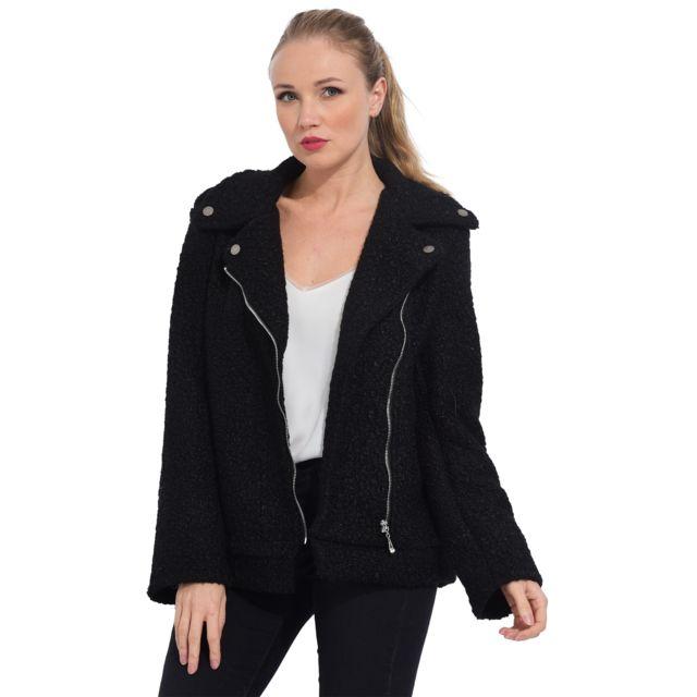 Arty Blush - Perfecto en laine Noir - pas cher Achat   Vente Manteau femme  - RueDuCommerce fb929d478380