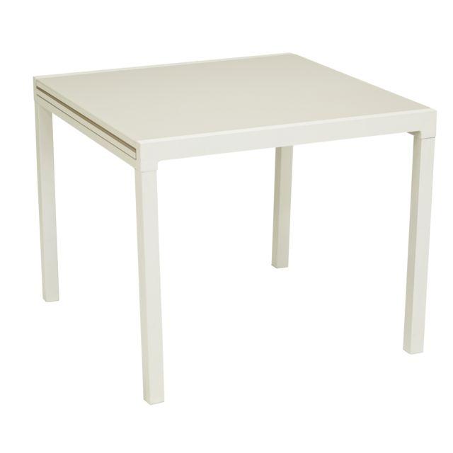 HYBA - Table Tello extensible 90/180 cm - Taupe 90cm x 90cm x 74cm ...