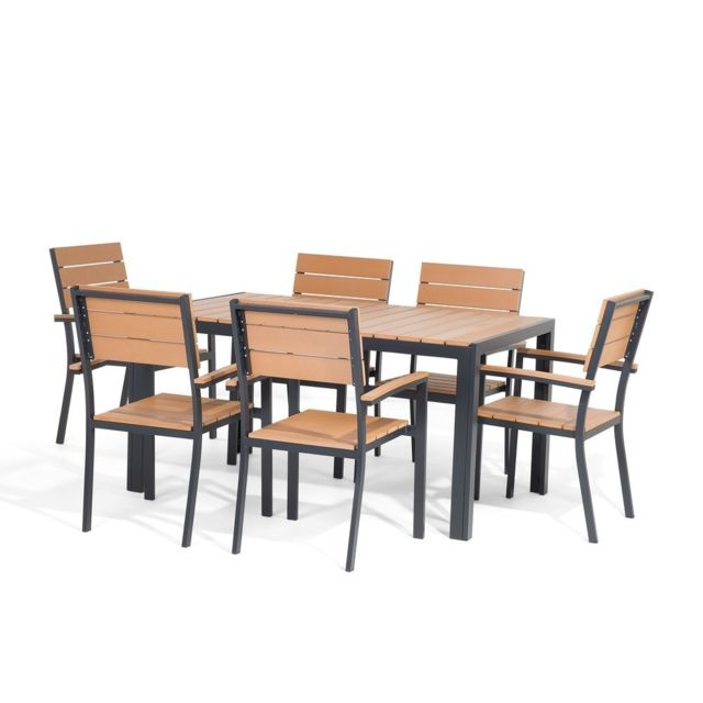 Beliani Ensemble De Jardin Table Et Chaises Aluminium Et Polywood