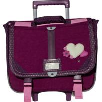 CARREFOUR - Cartable à roulettes rose - 2 Compartiments - L 40cm