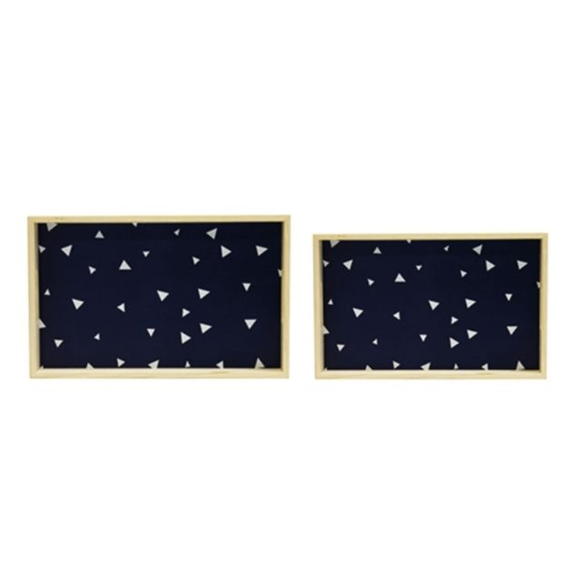 Plateau rectangle - Lot de 2 - Bleu