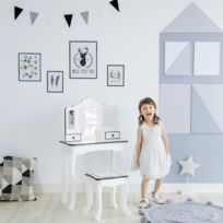 Meuble Coiffeuse Enfant Avec Miroir Et Tabouret Fille Blanche Noir Td 13028a