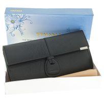 Temanli - Coffret Porte Monnaie Compagnon Cuir Coco + Pince Billets + Loupe + Boite Cadeau - Noel - Fete Meres - Anniversaire - Cartes - Noir