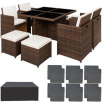 Salon de jardin MANHATTAN - 4 Chaises 4 Tabourets 1 Table en Résine Tressée  structure Aluminium Marron