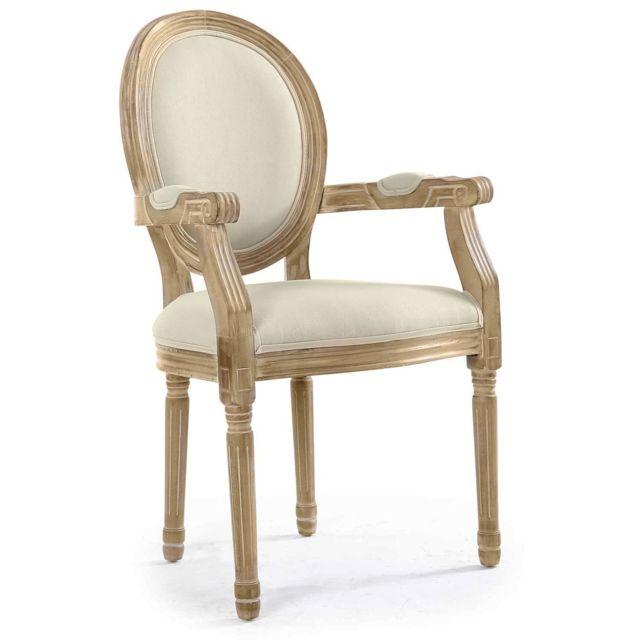 Fauteuil médaillon Louis XVI tissu Beige