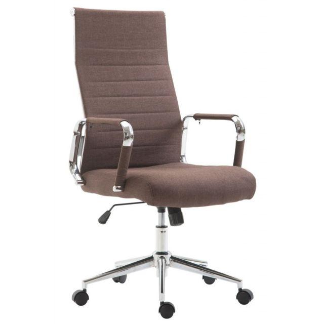 Decoshop26 Fauteuil de bureau en tissu marron avec assise rembourrée pivotant Bur10233