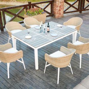 concept usine carcina 6 table de jardin en aluminium et polywood 6 personnes 6 fauteuils. Black Bedroom Furniture Sets. Home Design Ideas