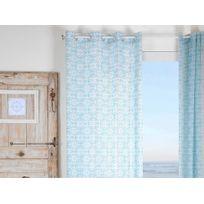 Stof - Rideau tamisant à œillets polyester rosace carreau de ciment bleu/blanc 135x260cm Lisboa