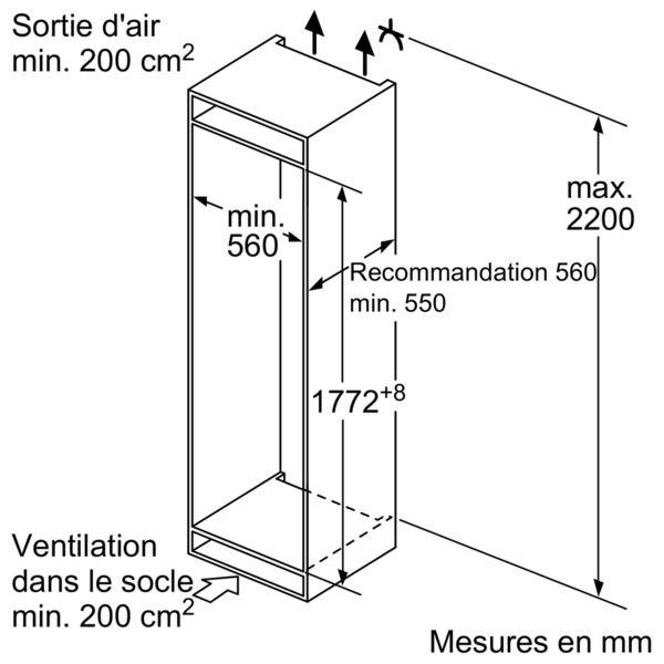 Bosch - réfrigérateur 1 porte intégrable à pantographe 319l a++ - kir81af30