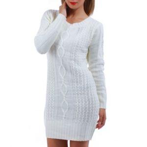 la modeuse robe pull grosses mailles torsad es blanc pas cher achat vente robes. Black Bedroom Furniture Sets. Home Design Ideas