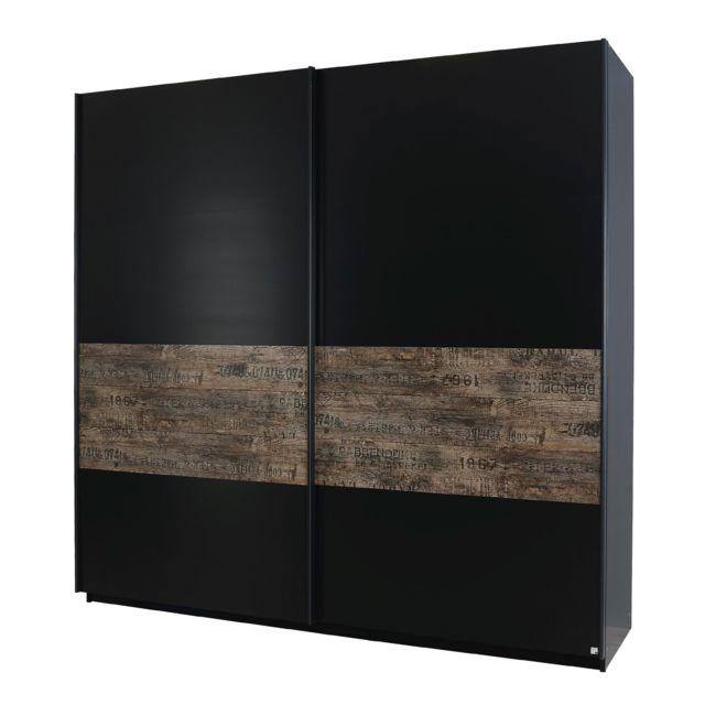 Armoire 270cm à portes coulissantes - noir et marron