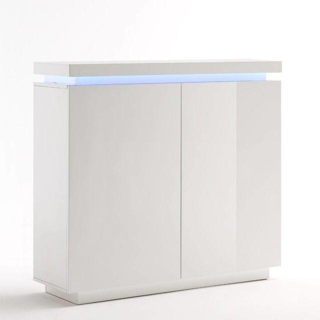 Inside 75 - Buffet haut Ocean laqué blanc brillant 2 portes Led ...