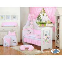 Autre - Lit et parure de lit bébé âne rose ciel de lit mousseline avec top coton 120 60