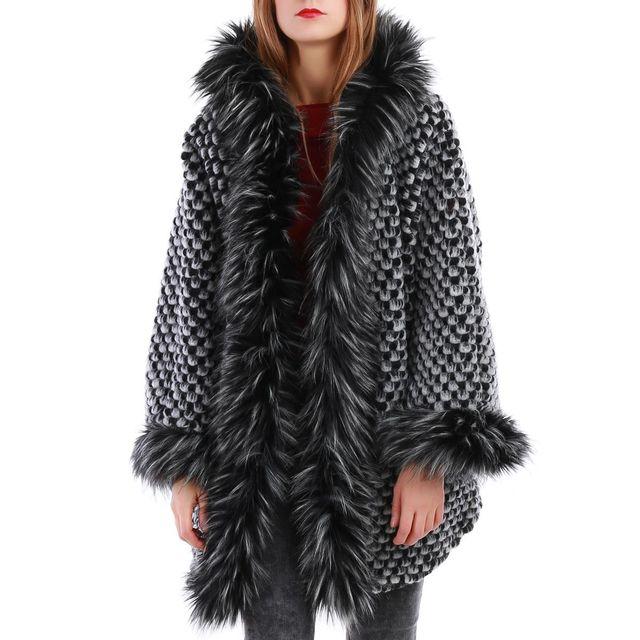 La Modeuse - Manteau noir en laine chinée et col fourrure - pas cher Achat    Vente Manteau femme - RueDuCommerce 9bf6426f5179