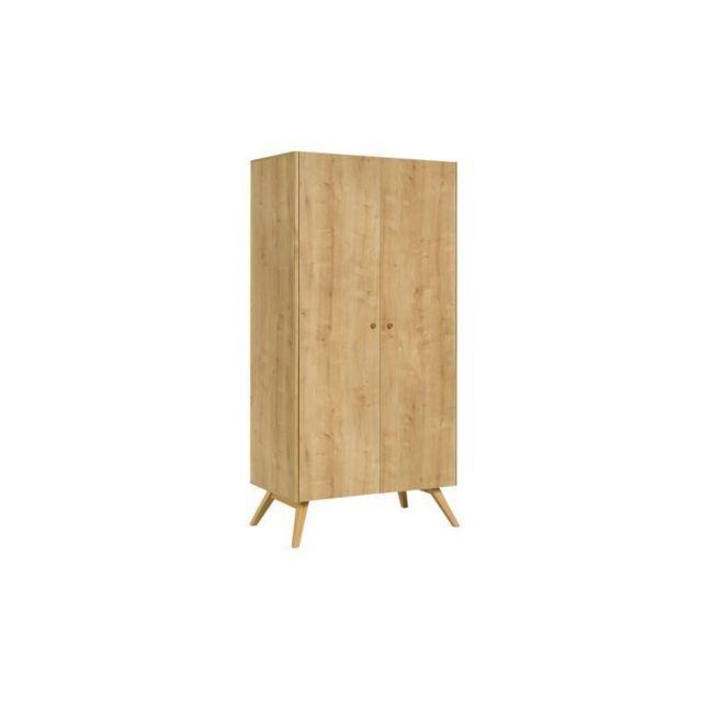 Jjm Armoire Dressing 2 Portes Design Scandinave Nature Pas Cher