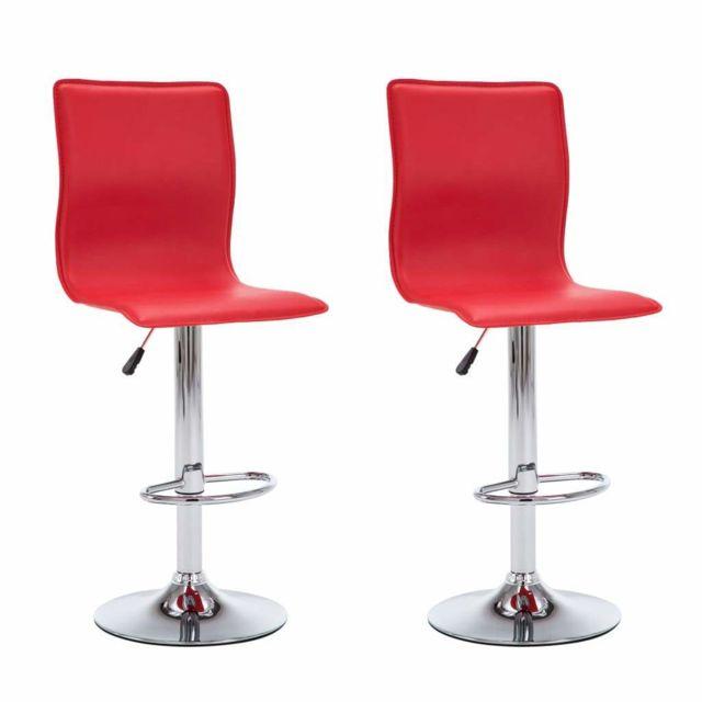 Helloshop26 Lot de deux tabourets de bar design chaise siège similicuir rouge 1202086