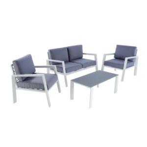 HYBA - Salon bas de jardin URBAN - Aluminium et textile - Gris ...