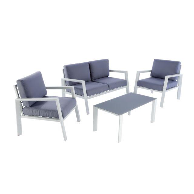 hyba salon bas de jardin urban aluminium et textile gris pas cher achat vente. Black Bedroom Furniture Sets. Home Design Ideas