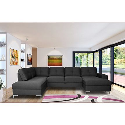 Canapé angle fixe avec coffre en tissu gris - Aliocha