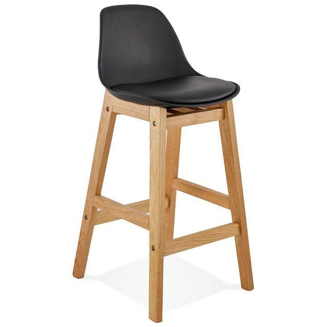 alterego tabouret snack mi hauteur 39 kiko mini 39 noir style scandinave pas cher achat vente. Black Bedroom Furniture Sets. Home Design Ideas