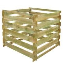 Rocambolesk - Superbe Bac à compost carré en lattes en bois 0,54 m³ Neuf