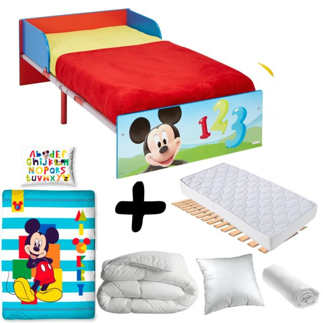 bebe gavroche pack complet premium lit bois et metal mickey disney lit matelas parure. Black Bedroom Furniture Sets. Home Design Ideas