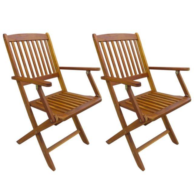 Chaise pliable de salle à manger 2 pcs Bois massif d'acacia   Brun