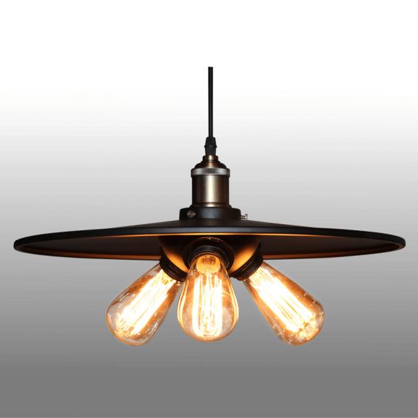 Soldes Kosilum - Suspension industrielle noire 3 ampoules - Hestia ...