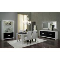 Modern Salon - Ensemble 7 éléments: laque blanc noir vitrine 2 + table 160 +bahut + 4 chaises blanches