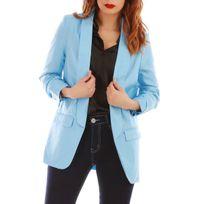 Lamodeuse - Veste blazer bleu clair à manches froncées