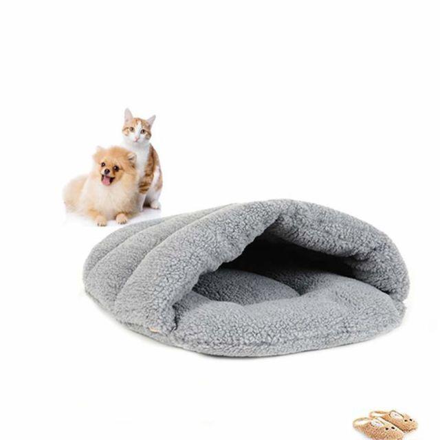Marque Generique Sac de Couchage pour Chat Chien plus velours épais nid de sommeil chaud, pantoufles de laine chaudes pour animaux de com