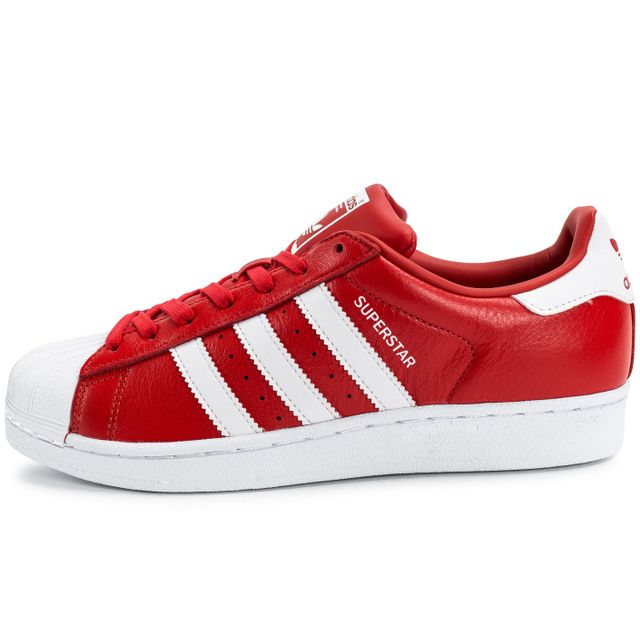 Adidas originals , Superstar Cuir Rouge Et Blanche