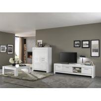 Modern salon - Ensemble Laqué blanc Modena : Meuble tv 207 + bar + table basse carrée