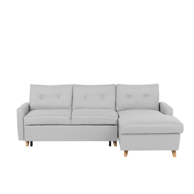 BELIANI Canapé d'angle à gauche en tissu gris clair FLAKK - gris