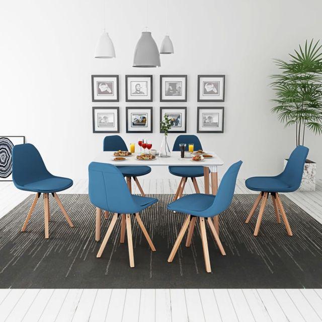 Vidaxl Ensemble de table et chaise à manger cuisine 7 pièces Blanc et bleu