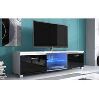 Comfort - Home Innovation - Meuble de télévision Led, Meuble de Salon, Blanc Mate et Noir Laqué, Dimensions: 150x 40 x 42 cm de profondeur
