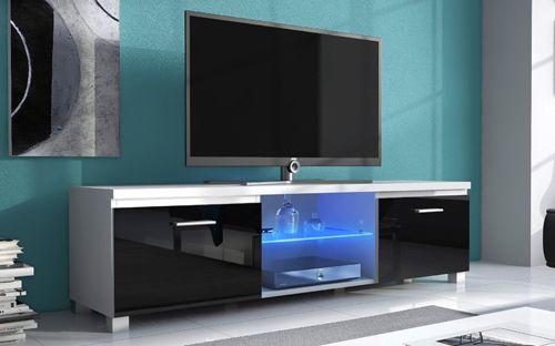 Comfort Home Innovation - Meuble de télévision Led, Meuble de Salon, Blanc Mate et Noir Laqué, Dimensions: 150x 40 x 42 cm de pr