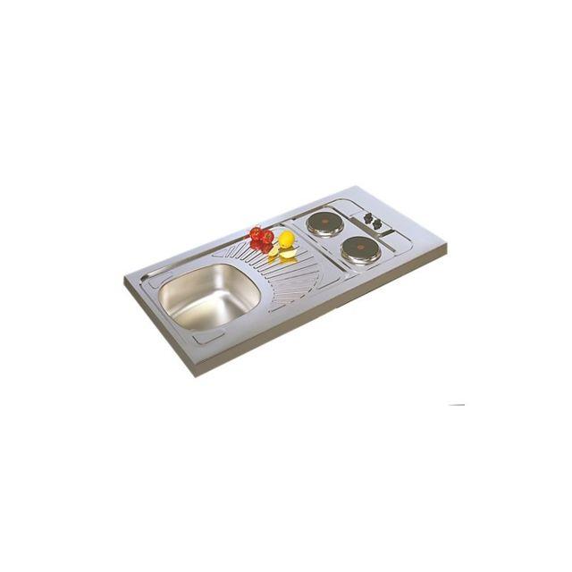 moderna evier cuisine inox avec plaques de cuisson 120x60 pas cher achat vente evier. Black Bedroom Furniture Sets. Home Design Ideas