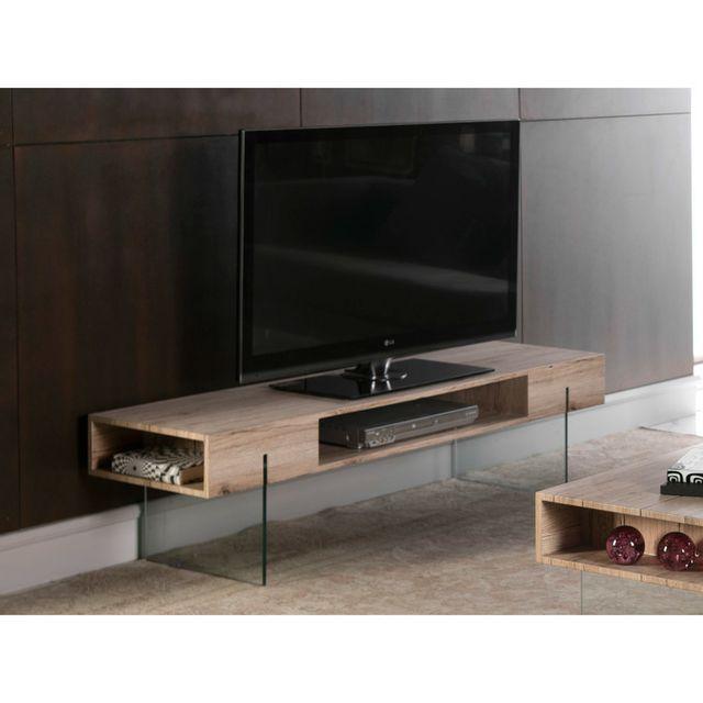 Marque Generique Meuble Tv en bois décor San remo et pieds en verre + niches L150cm Chalten