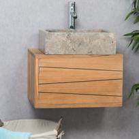 wanda collection meuble salle de bain suspendu en teck cosy 50cm